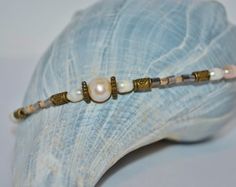 Ankle Bracelet Pearls, Fresh Water Pearls & Bronze Bead Anklet