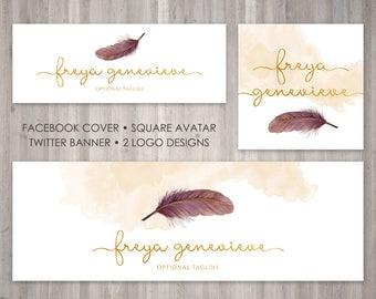Premade Blog Branding Package - Logo - Avatar - Facebook Cover - Twitter Banner - Matching the Freya Genevieve Template Design