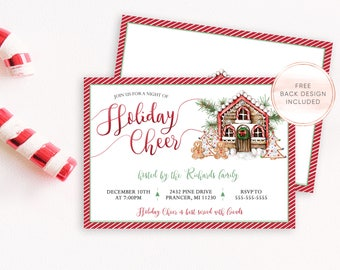 Christmas Party Invitation, Holiday Party Invitation, Christmas Cheer, Christmas Party Invites, Gingerbread House, Christmas Invites [556]