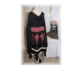 Day of the Dead Costume / Día de los Muertos / Sugar Skull / Mexican-Latino Style Costume--XX-Large-PLUS (K65)