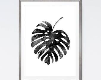 Botanical Print, Monstera Leaf, Black Leaf Print, Tropical Print, Nature, Tropical Decor, Water Color Print, Wall Decor, Bohemian Art