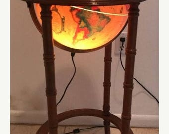 On Sale Vintage SCAN GLOBE Denmark Illuminated WORLD Globe In Wood Floor Stand