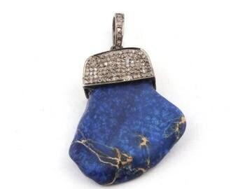 Valentine Day Sale 1 Pc Pave Diamond Lapis Lezuli 925 Sterling Silver Pendant -- Gemstone Pendant 37mmx26mm PD811