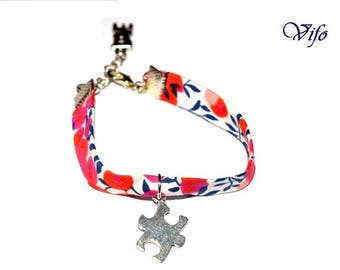 Blue and red  liberty bracelet, Jigsaw puzzle pendant