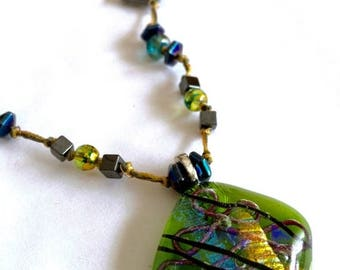 25% off One of a Kind Beaded Hand-Knotted Necklace featuring a Green Transparent Fused Dichroic Glass Pendant
