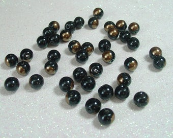 ROUND 8MM DARK BRONZE GLASS BEADS