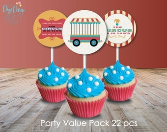 Circus/Carnival Vintage Party Printable Value Pack, Instant Download