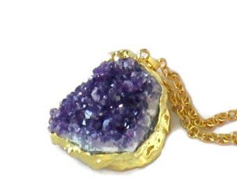 raw Amethyst healing Crystal, Jewelry Necklace Amethyst Crystal, February Birthstone,