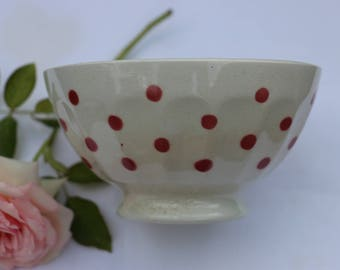 Beautiful French Vintage Red Spotted breakfast bowl. Cafe au lait.  Traditional French Country Kitchen. French Vintage Shabby Chic