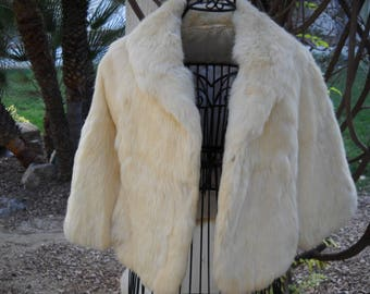 Buttery soft Blonde Rabbit fur Stole, Bolero, No arm holes, side vents for arms, Heavy, rich thick  fur, one size fits most, 72 inch hemline