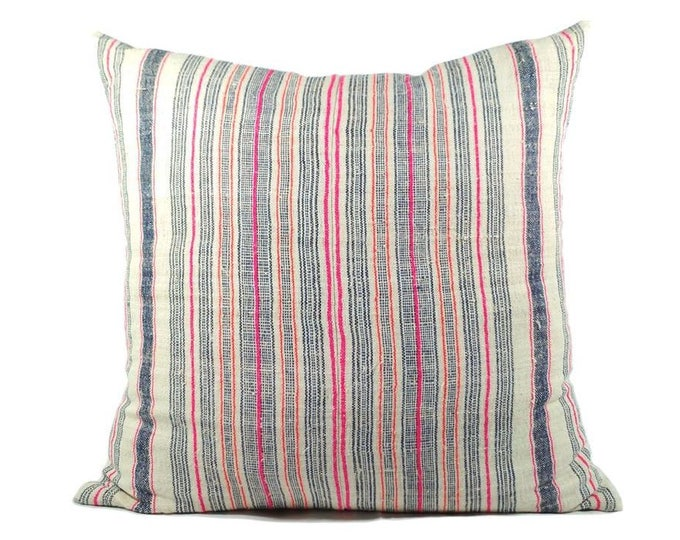 "20""x20"" Multi Stripes Hmong Hand Woven Hemp Pillow Cover, Vintage Organic Hill Tribal Textile Pillow Case, Bohemian Throw Pillow"