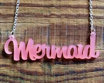 Frosted Pink Acrylic Mermaid Necklace