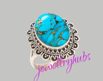 Blue Turquoise Ring, Copper Turquoise Ring, Handmade Ring, Turquoise Stone Ring,925 Sterling Silver, Silver Ring, R22TRB