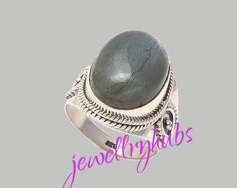 Labradorite Ring, Blue Flash Labradorite Ring, Fine Silver Ring, Cabochon Ring, Oval Ring, Boho Ring, Healing Ring, R24LB