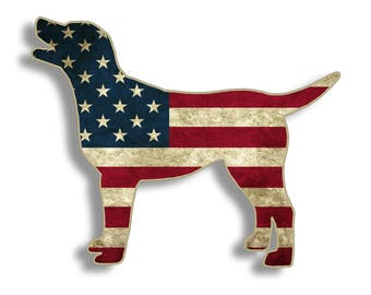 Lab Labrador Rustic American Flag Dog Sticker Die Cut Digitally Printed Vinyl Graphic for Cup Cooler Car Truck Window Southern