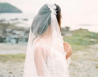 Wedding veil, juliet veil, drape veil, lace veil, beaded lace, lace applique