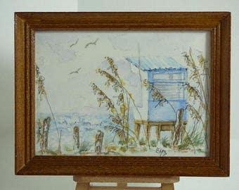 Miniature Art, Seascape Art, Artisan Dollhouse, Watercolor Painting, Original Framed Artwork, Affordable Fine Art, Nature Lover, Small Space