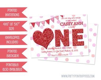 One Sweetheart 1st Birthday Girl invitation - Sweetheart Invitation - Valentine 1st Birthday Party - First Birthday Faux Red Glitter Girls