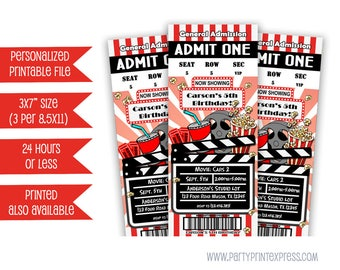 Printable Movie Ticket Invitation - Movie Birthday Party Invite - Movie Party - Movie Night Invitations - Movie Tickets - Cinema Party DIY