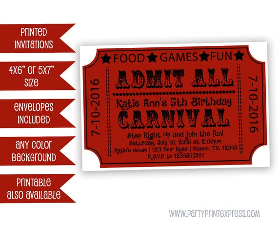 carnival ticket invitations carnival birthday invitation