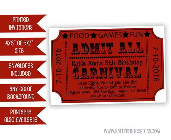 Carnival Ticket Invitations Carnival Birthday Invitation – Birthday Invitation Tickets