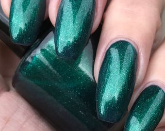 sale  Wood Nymph  metalic green with silver glitter nail polish