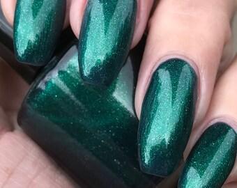 Wood Nymph  metalic green with silver glitter nail polish