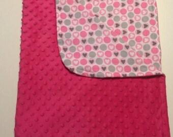 15% Sale Pink Baby Blanket, Pink Minky Blanket, Girl Nursery, Nursing Blanket, Nursery Bedding, Baby Bedding, Toddler Blanket, Baby Shower G