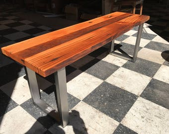 Industrial Bench. Reclaimed Wood Bench. Dining Room Bench. Wood And Steel  Bench.