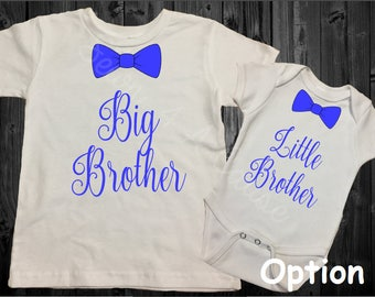 Big Brother/Little Brother - Sibling Shirt Set - Bow Tie - Blue/Green/White/Black