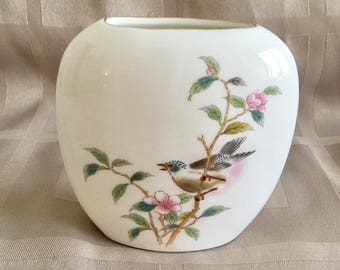 Yamaji Japanese Porcelain Cusion Vase with Bird and Blossom