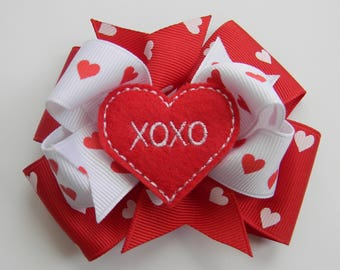 Valentine Hair Bow, Valentines Hair Bow, Heart Hair Bow, Red Hair Bow, Valentines Day, Valentine Bow