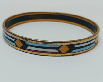 Vintage Michaela Frey 24k gold gilded enamel bangle bracelet