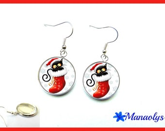 Cats, Christmas, 1846 glass cabochons earrings