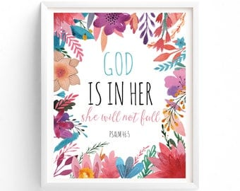 God is in her, Psalm 46:5, Bible Verse Art print wall art decor, inspirational quote, Printable Art Bible Verse, Psalm 46 5
