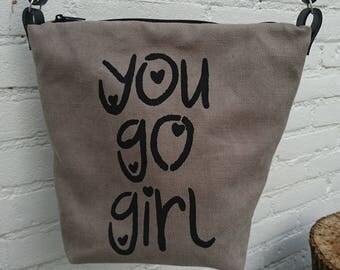 Crossbody bag, canvas crossover, cool unique purse, shoulder bag, slogan: