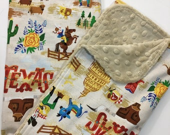 Texas Baby Blanket, Gender Neutral Minky Blanket, Nursery Bedding, Western, Alamo, Blubonnets, Yellow Rose, Longhorn, Sand Minky Back