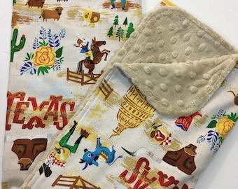 Texas Baby Blanket, Gender Neutral Minky Blanket, Nursery Bedding, Western, Alamo, Blubonnets, Yellow Rose, Longhorn, Sand Minky Back