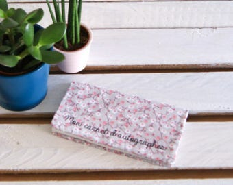 Checkbook - checkbook with fabric flowers, handmade by Persephone Boutique