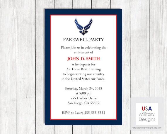Air Force Farewell Invitation Printable US Air Force Farewell – Farewell Party Invitation Email