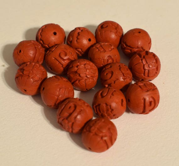 Beads Chinese Red Cinnabar Carved Lacquered Round Beads Cinnabar Chinese Beads