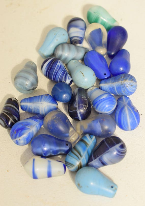 Beads Wedding Glass Old Assorted Blue Teardrop African Beads 25mm