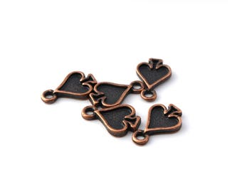 Set of 5 charms ACE of Spades antiqued brass