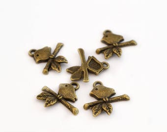 Set of 5 charms birds on branch color bronze