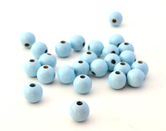 Wood bead 10 mm sky blue color set of 10