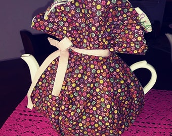 Wrap a round tea cozie country brown multi handmade pinklady cottage