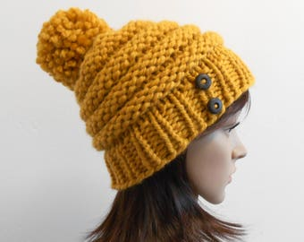 Knit Mustard Hat, Beehive, Pom Pom, Chunky Knit, Womens Hat, Mustard Yellow, Knitted Slouchy Beanie, Gift for Her, Made in Alaska Winter Hat