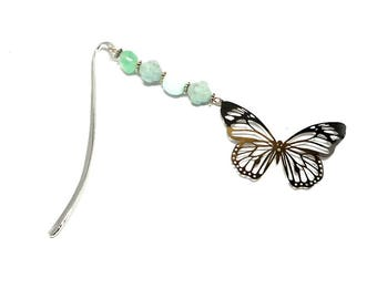 Bookmark silver jewelry, butterfly filigree green beads