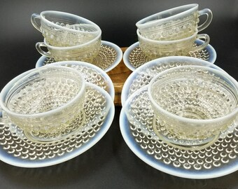 Set of 6 Anchor Hocking Moonstone clear opalescent cup & saucer sets mint