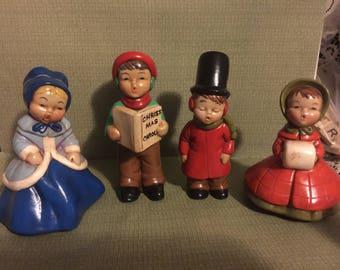 Christmas Carolers; set of 4 Ceramic Christmas Carolers; Christmas Village Home Decor; Holiday Room Decor; 2 Couples carolling;